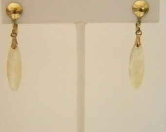 Gold Tone Screw Back Earrings with Tear Drop Mother of Pearl Look Dangle