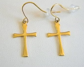 Light Weight Gold Tone Finish Cross Dangle Pierced Earrings