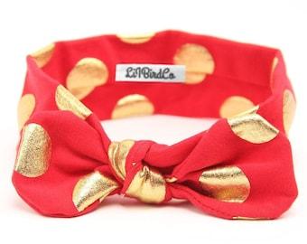 Polkadot Headband-Red & Gold