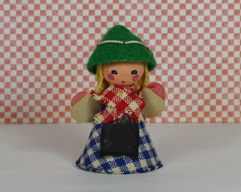 Vintage Austrian wooden doll girl 1960s