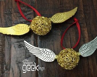 Harry Potter Christmas Ornament | Golden Snitch | Golden Snitch Christmas | Harry Potter Gift | HP snitch | Hogwarts Ornament | Gryffindor