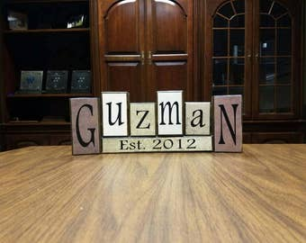 Last name blocks, last name established blocks, customized last name sign, personalized last name blocks, anniversary gift, wedding gift