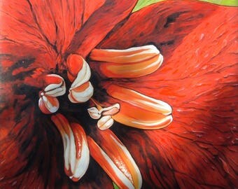 Red flower print measuring 70 x 70 cm oil touched up. No frame.
