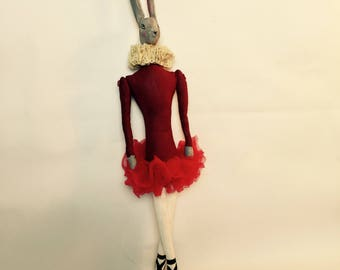 Ballerina hare in red