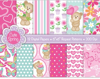 Bear Digital papers,Mother's Day Digital Paper,Birthday Digital Paper,Flower Paper,Butterfly Paper,Heart Paper,Scrapbook Papers,Commercial
