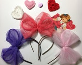 Tulle bow, light pink, ballet bow, Valentine's Day headband, big fluffy bow, purple, coral, red