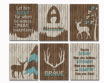Rustic nursery art deer baby bedding wall decor woodland bedroom poster little boy room gift Let Him Sleep wood artwork teal you are braver