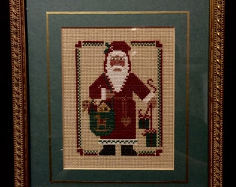 Cross Stitch Old World Santa Matted and Framed Professionally Vintage Art Christmas Hand Made Art