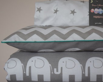 pure COTTON Cot Bed Duvet Cover Set & Fitted Sheet Grey Chevron Elephants with green piping nursery