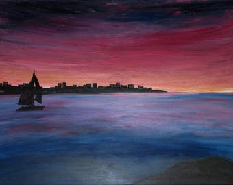 great table 80 x 60 cm, modern art, Sunset painting