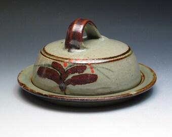 Vintage David Leach Lowerdown Pottery Butter Dish, Classic Foxglove Decoration, Mint Condition, Son of Bernard Leach, St Ives