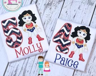 Girls Wonder Woman Shirt - Girls Super Hero - Wonder Woman Birthday Shirt - Embroidered Shirt - Superhero Birthday