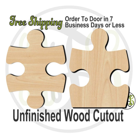 Plaque Puzzle Piece Style 1 or 2  - 40045S1-S2- Cutout, unfinished, wood cutout, wood craft, laser cut, wood cut out, DIY, Free Shipping