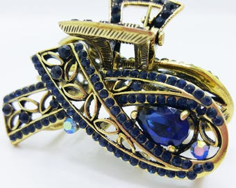 New  Antique Gold Metal Sapphire Crystal  Rhinestone Hair 2 1/2' Clip Claw