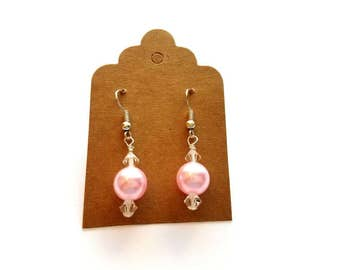 Silver Wires with Acrylic Pink Pearl and Crystal Bead Earrings Handmade by Cialeigh