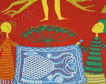 Stig Lindberg fabric Lustgården made in Sweden 60s. Wallhanging.