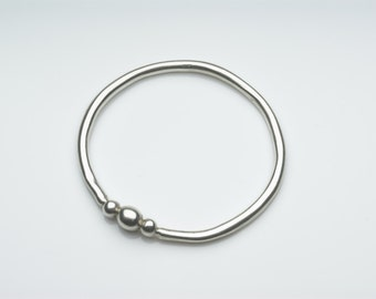 Silver bracelet with three orbs, chunky silver bangle
