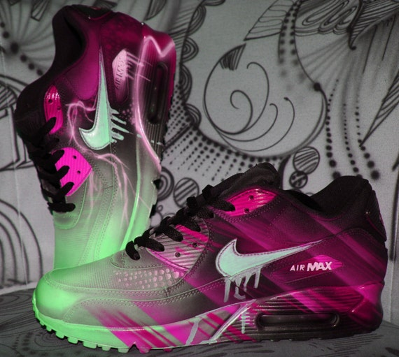 a6670996a1a1e6 outlet Custom Nike Air Max 90 Pink Abstract Art Style by DacCrewAirbrush