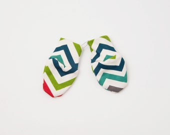 Certified Organic Cotton Baby Scratch Mitts - Multi Chevrons / One Size / Baby hospital mitts, No Scratch Hand Covers