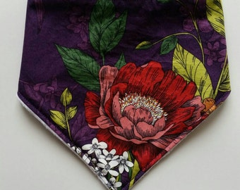 Floral bandana baby bib, purple, cotton print, plain white minky backing, Australian handmade