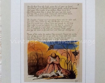William Blake Book of Thel Shepherdess Illustrated Poem Art Print Vintage Lithograph Book Plate Home Decor British Illuminated Poetry