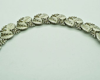 Crown Trifari Bracelet Brushed Silver Bracelet Leaf Bracelet Vintage Bracelet Fashion Jewelry