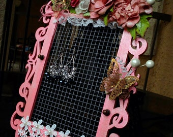 Unique Decorative Rectangle Framed Jewelry and/or Accessory Holder