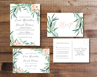Printable Wedding Invitation Set | Invitation + RSVP postcard + Save the Date |  Watercolor, modern, floral, botanical, blush | Eucalyptus