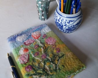 Felted Notebook Cover ~ Pink Flower Floral Front and Back Handmade OOAK