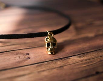 Gold Skull Choker - Suede Chokers - Black Chokers - Gold Chokers - Leather Chokers