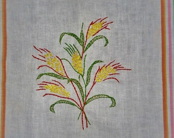Vintage hand embroidered dish towel