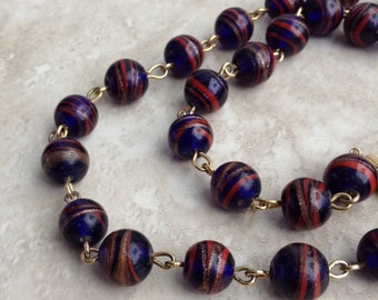 """Vintage Galaxy Swirl Red Blue Glass Bead Matinee Length Necklace 24"""""""