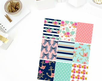 Nautical Nights Full Boxes Stickers! Perfect for your Erin Condren Life Planner, calendar, Paper Plum, Filofax!
