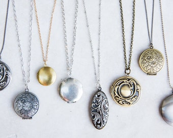 Locket Necklace, Long Boho Necklace, Vintage Locket Necklace, Create your Own Layered boho necklace, Bridesmaid Lockets, Anniversary Gift