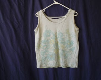70s Floral Terry Cloth Tank Top
