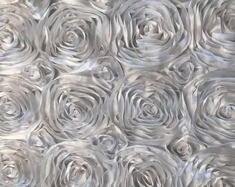 Fabulous White Satin Rosette Fabric 3D Rose features an elegant ribbon of satin