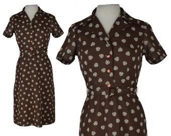 Vintage Dress, 1950s Dress, 50s Dress, Vintage Floral Dress, Retro Shirt Dress, Brown Floral Dress, 50s Day Dress, Shirt Dress, Size Medium
