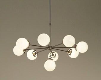 "Modernist Chandelier Glass Balls Pendant Lamp Ceiling Light Fixture 38""diam"