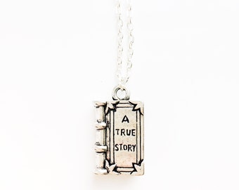Book charm necklace, fairy tale