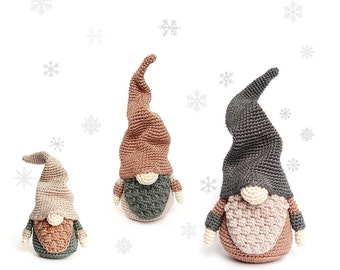 Set of 3 Sizes Christmas GNOMES Crochet Patterns / Scandinavian Gnomes