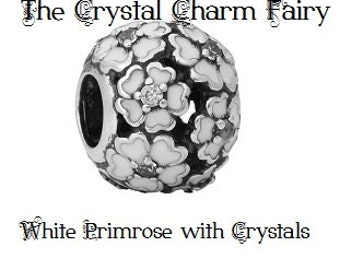 WHITE PRIMROSE Silver / White Petals with Crystals Charm Bead Fits / Large Hole / Pandora / European / Big Hole / Bracelets / Necklace