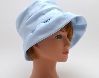 Vintage Light Blue Cloche Hat, United Hatters Cap and Millinery Works, Union Made Ladies Hat, circa 1960s