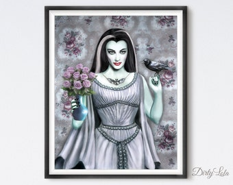 Lily Munster - Gothic - Illustration - Art Print - Fan Art - The Munsters - Horror - Vampire - Witch