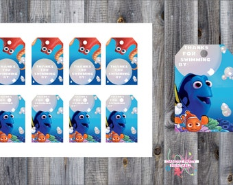 Finding Dory Thank you tags, INSTANT DOWNLOAD, Party supplies, Candy bag tag, favor tag, Birthday decoration, printable