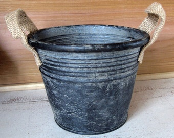 "Rustic Metal Container  - Round Galvanized Metal Bucket - Farmhouse Metal Bucket 5"" tall  x 6.5"" diameter"