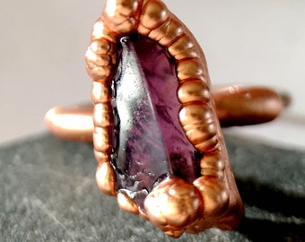 Highly Original Amethyst Copper Ring, Handmade, Electroformed Recycled Copper, Hand Cut, Natural Amethyst Gemstone. Ring size P 1/2/US 7 3/4