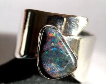 Boulder Opal Ring. Beautiful Hand Cut Australian Boulder Opal, set in a handmade Sterling Silver Ring. Opal jewelry. UK seller. Ring size Q.