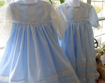 Sister Dresses in Blue and Ecru, Flower Girls, Portraits, Weddings