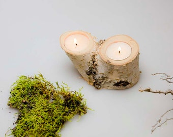 Wood Candle Holder -Candle Holder with 2  Light Spots - Wood Log Holder -Birch Tree Candle Holder - Wedding Decoration
