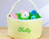 Gingham Fabric Embroidered Easter Basket, Personalized Fabric Easter Basket, Gingham Easter Basket With Name